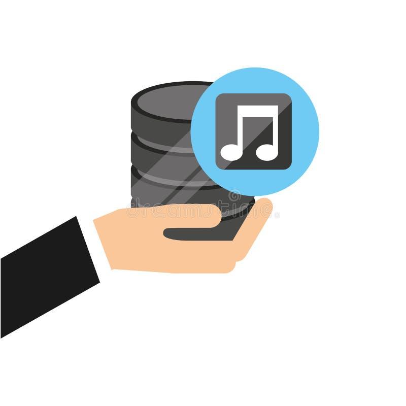 Ręka trzyma dane muzyki ikonę royalty ilustracja