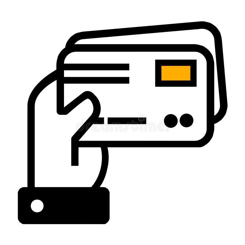 R?ka trzyma dwa kart kredytowych ikon? Eps10 Wektor ilustracji