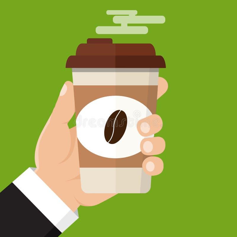 Ręka trzyma filiżankę gorący napój Kawowy czas, kawowa przerwa Isolat ilustracja wektor