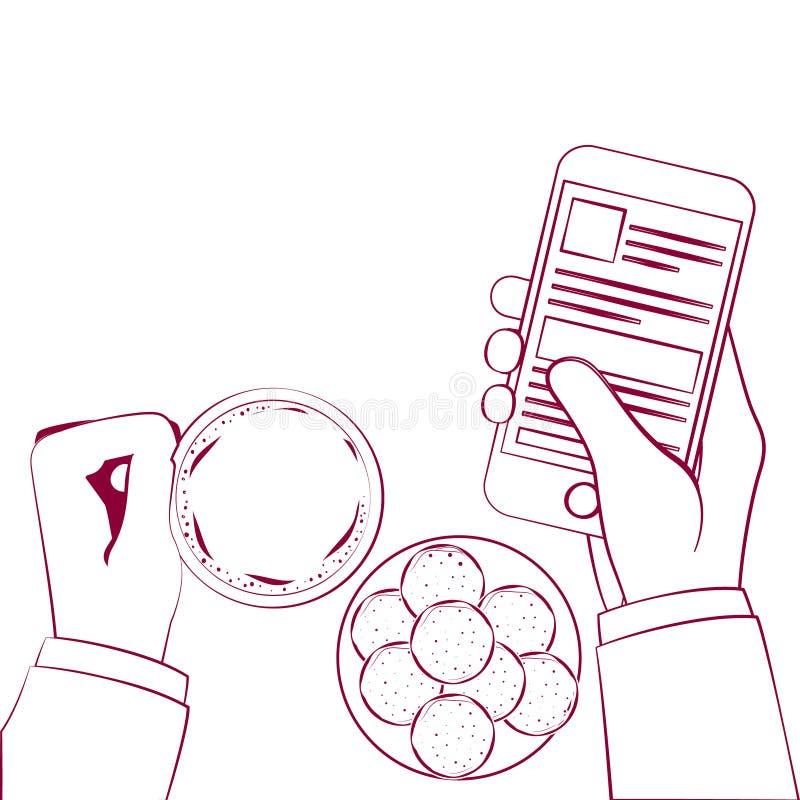 Ręka trzyma filiżankę na stole ilustracji