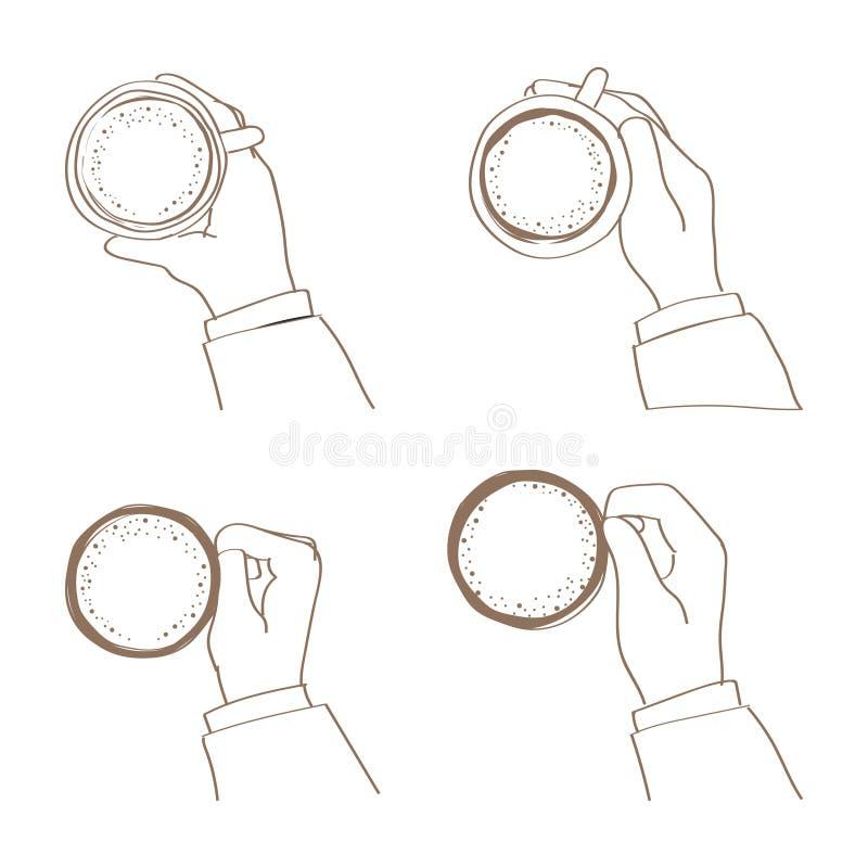 Ręka trzyma filiżankę w różnorodnych ilustracyjnych stylach ilustracji