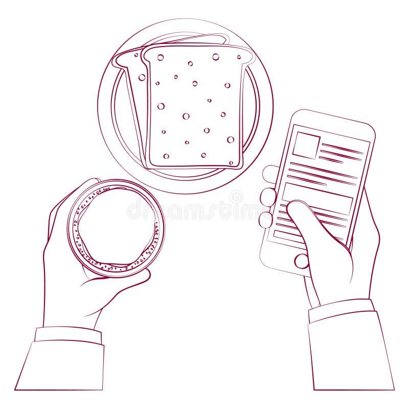Ręka trzyma filiżankę w różnorodnych ilustracyjnych stylach ilustracja wektor