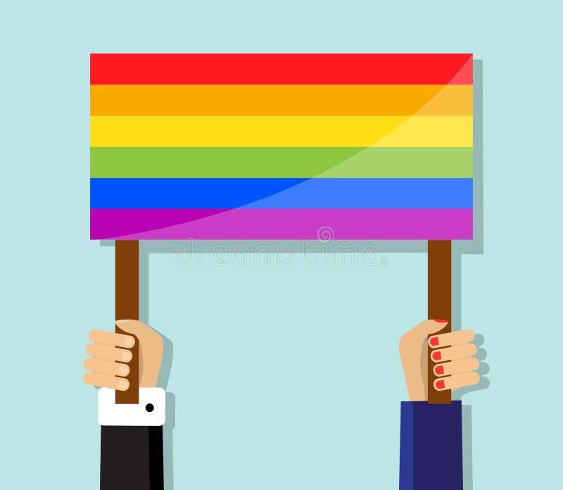 Ręka trzyma homoseksualnej dumy flaga ilustracja wektor