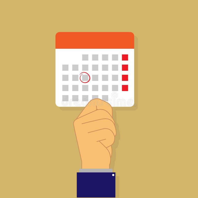 Ręka trzyma kalendarzowego prześcieradło, płaski projekt ilustracji