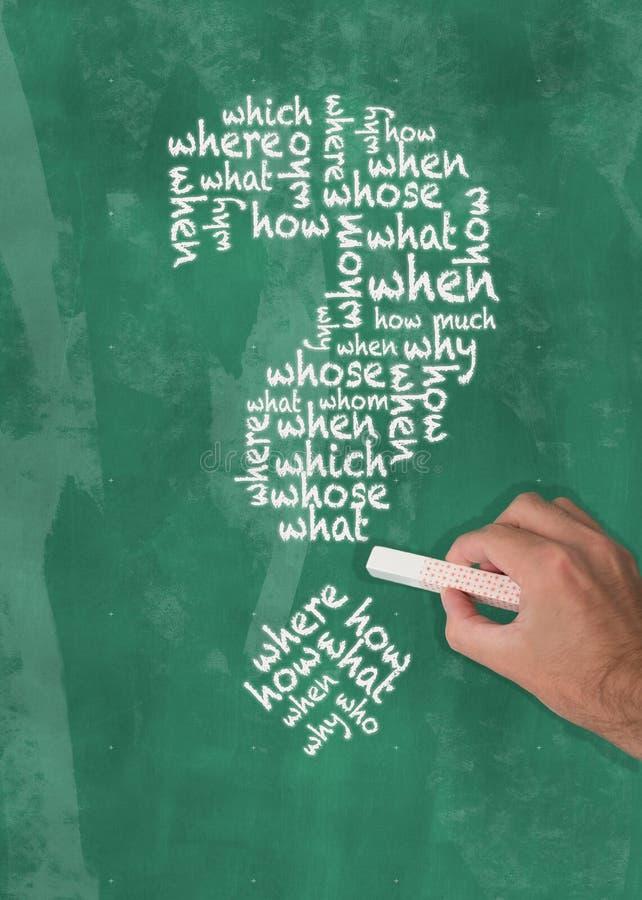 Ręka trzyma kawałek kredy writing pytania słowa w kształcie znak zapytania na blackboard zdjęcie royalty free