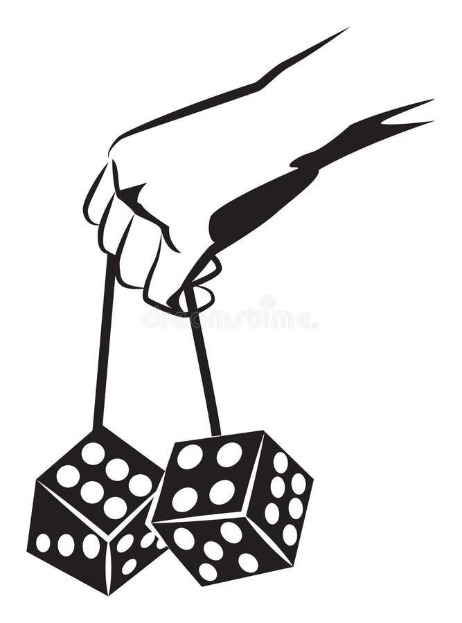 Ręka trzyma kostka do gry ilustracji