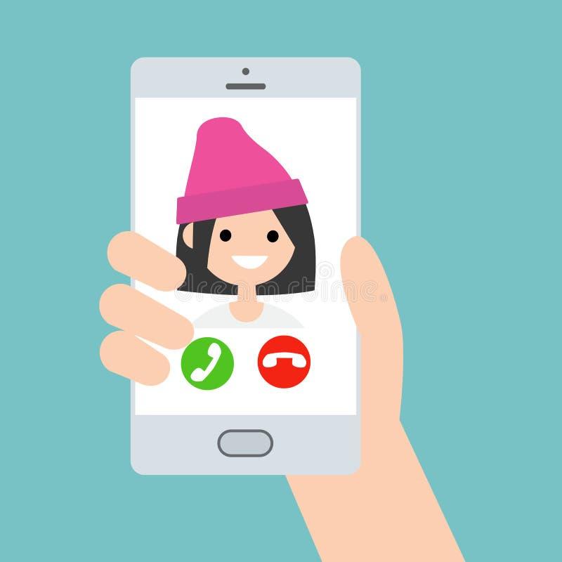 Ręka trzyma mądrze telefon Przybywający wezwanie od śmiesznej modnej dziewczyny royalty ilustracja