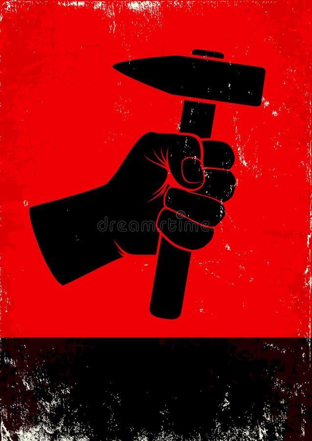 Ręka trzyma młot ilustracja wektor