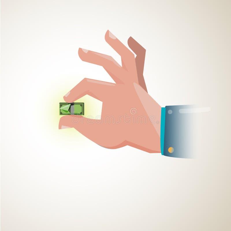 Ręka trzyma malutkiego pieniądze rachunek pokazuje osłabiać exchan ilustracja wektor