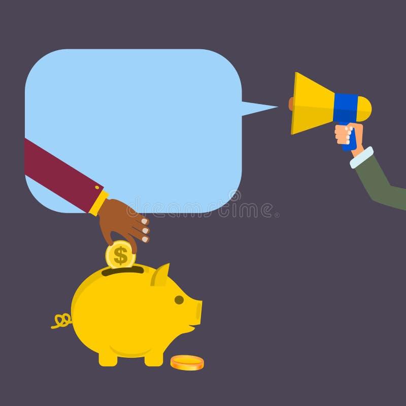 Ręka trzyma megafonu wezwanie oprócz pieniądze w świniowatym banku lub megafon, wektor ilustracja wektor