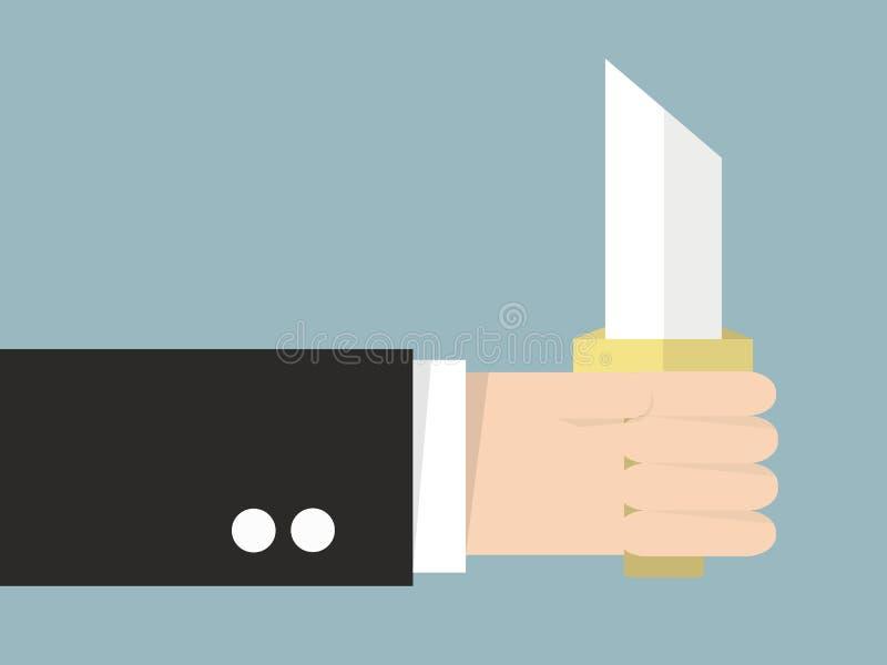 Ręka trzyma nóż, płaski projekt ilustracji