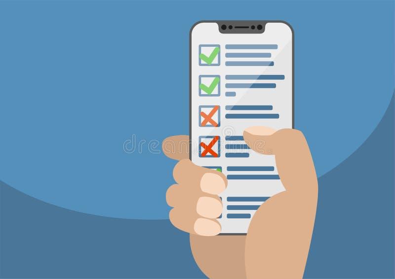 Ręka trzyma nowożytnego bezel bezpłatnego smartphone z listy kontrolnej lub zadania listą wystawiającą ilustracja wektor