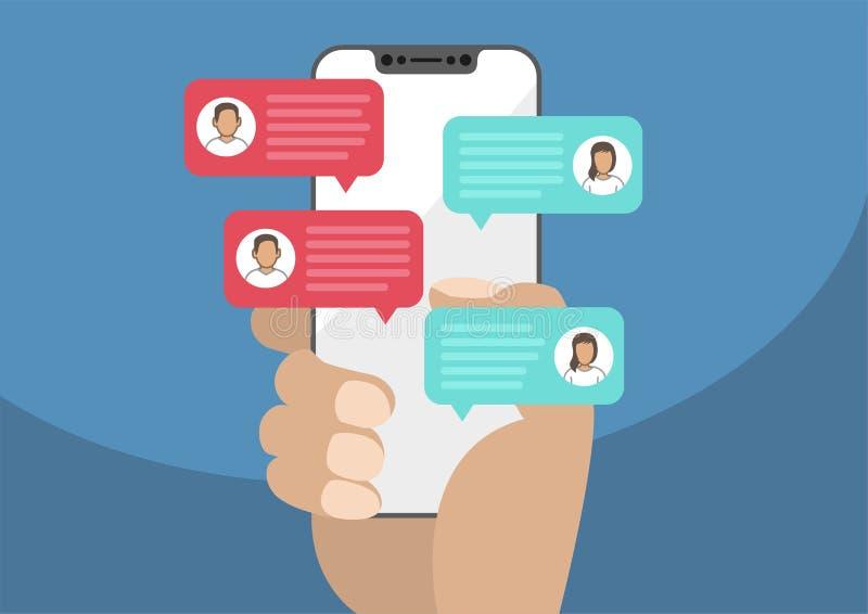 Ręka trzyma nowożytnego bezel bezpłatny, bezszkieletowy/smartphone z gadki wiadomości powiadomieniami Ilustracja gawędzenie mowy  ilustracji