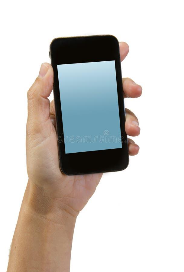 Ręka trzyma nowożytnego smartphone lub telefon komórkowego z pustego pokazu ekranem jako kopii przestrzeń mężczyzna obraz royalty free