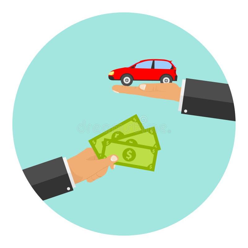 Ręka trzyma out pieniądze w zamian za samochód ilustracji