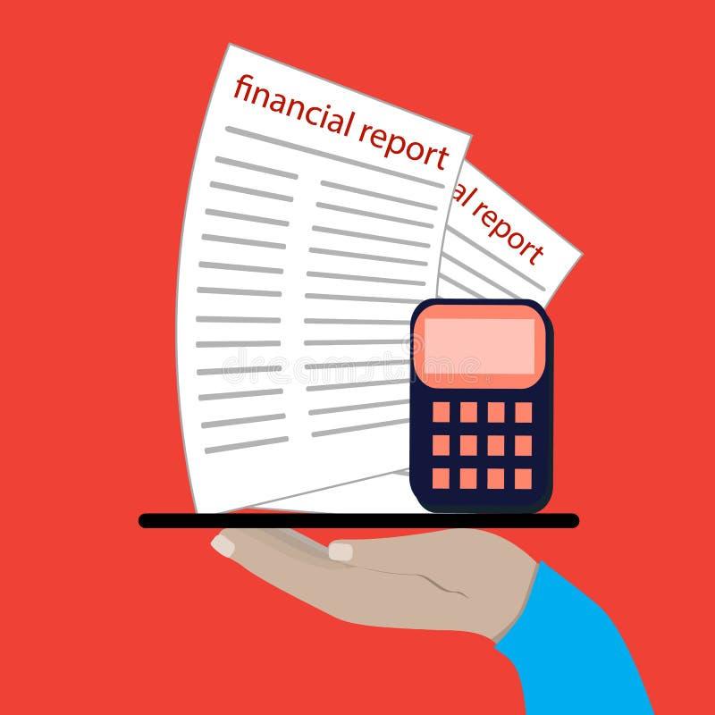 Ręka trzyma pastylkę Rozliczający, podatki, rewizja, obliczenie, dane analiza, donosi pojęcia Płaski projekt royalty ilustracja
