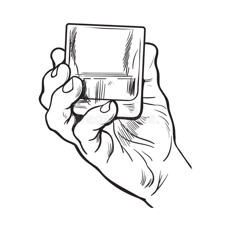 Ręka trzyma pełnego szkło whisky royalty ilustracja