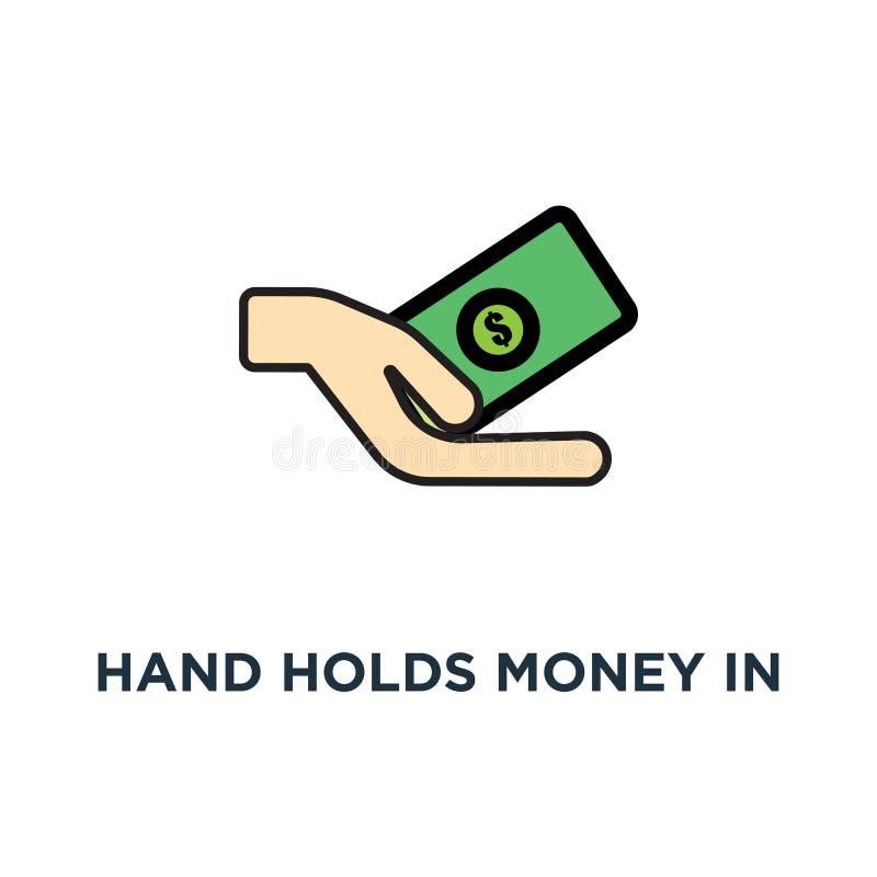 ręka trzyma pieniądze w gotówki, zapłaty lub transakcji ikonie, pensji, pieniężnego i życia stylu projekt, pojęcie symbolu projek ilustracji