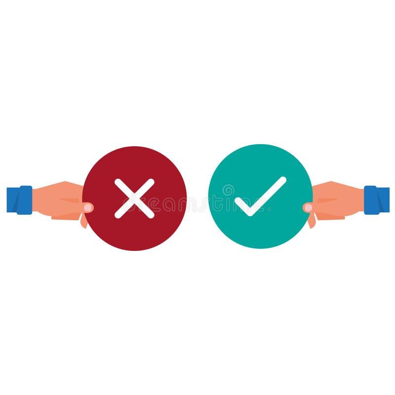 Ręka trzyma prawdziwego i fałszywego znaka Pozytywnej i negatywnej informacje zwrotne pojęcie Tak lub Żadny ikona projekta płaski ilustracja wektor