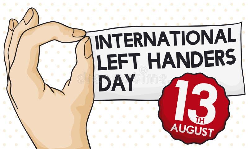 Ręka Trzyma przypomnienie datę dla mańkuta dnia i papier, Wektorowa ilustracja ilustracja wektor