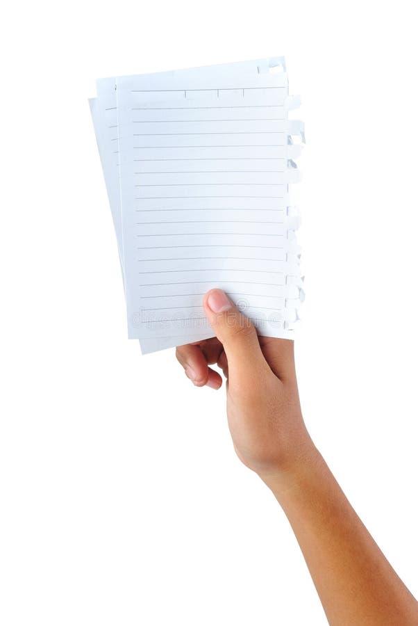 Ręka trzyma pustych papiery fotografia stock