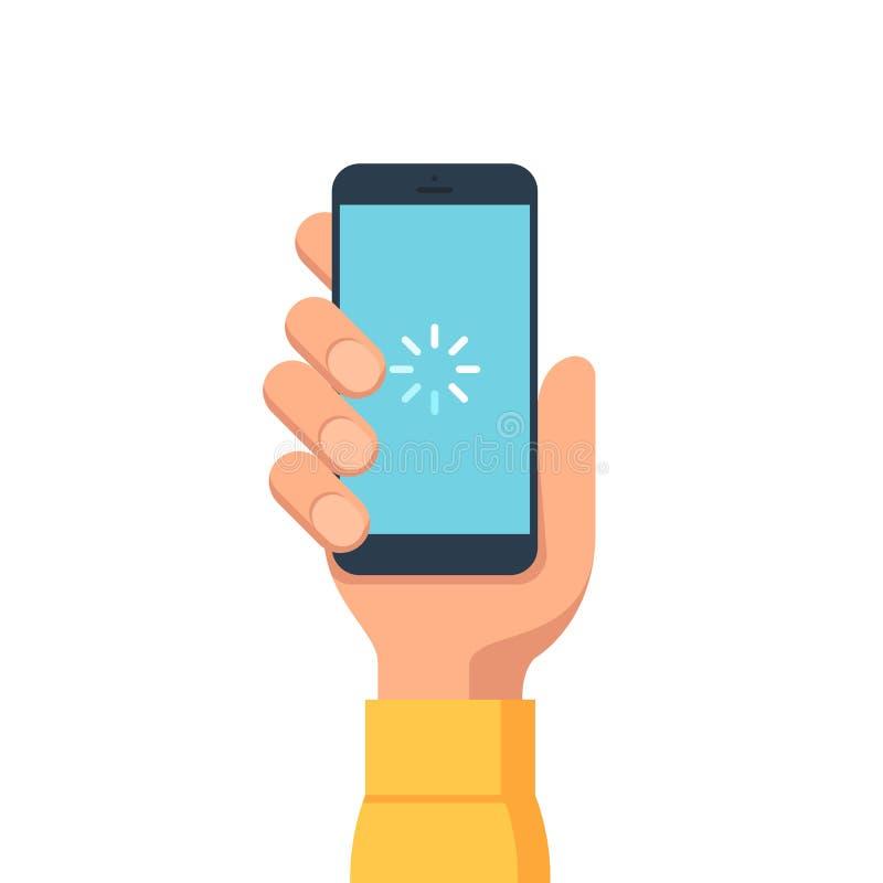 Ręka trzyma smartphone ilustracji