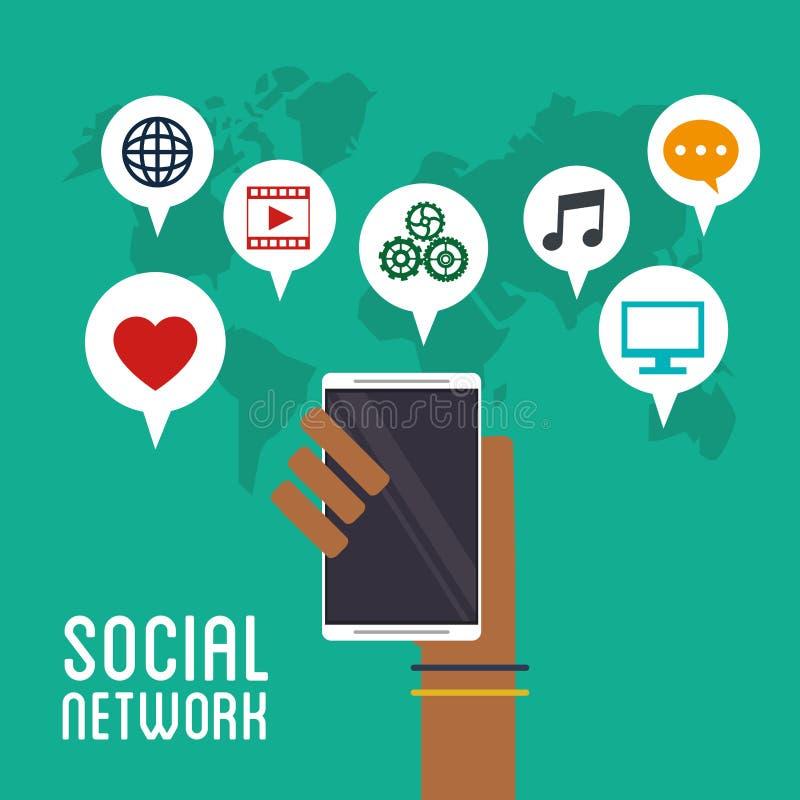 Ręka trzyma smartphone sieci ogólnospołeczne ikony ilustracja wektor