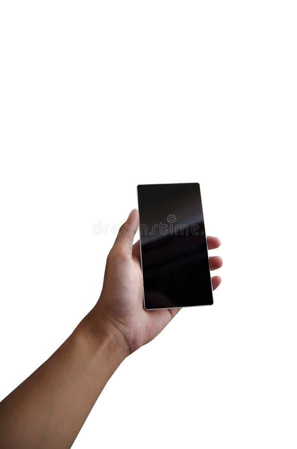 Ręka trzyma smartphone w odosobnionym bielu obraz stock
