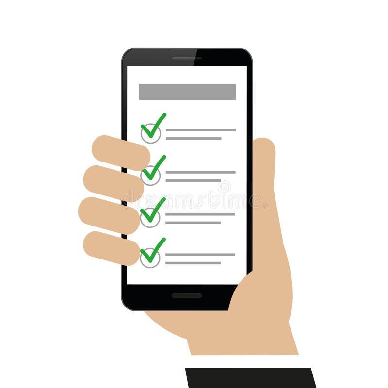 Ręka trzyma smartphone z listą kontrolną royalty ilustracja