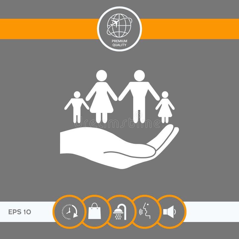 Ręka trzyma symbol rodzina Rodzinna gacenie ikona ilustracja wektor