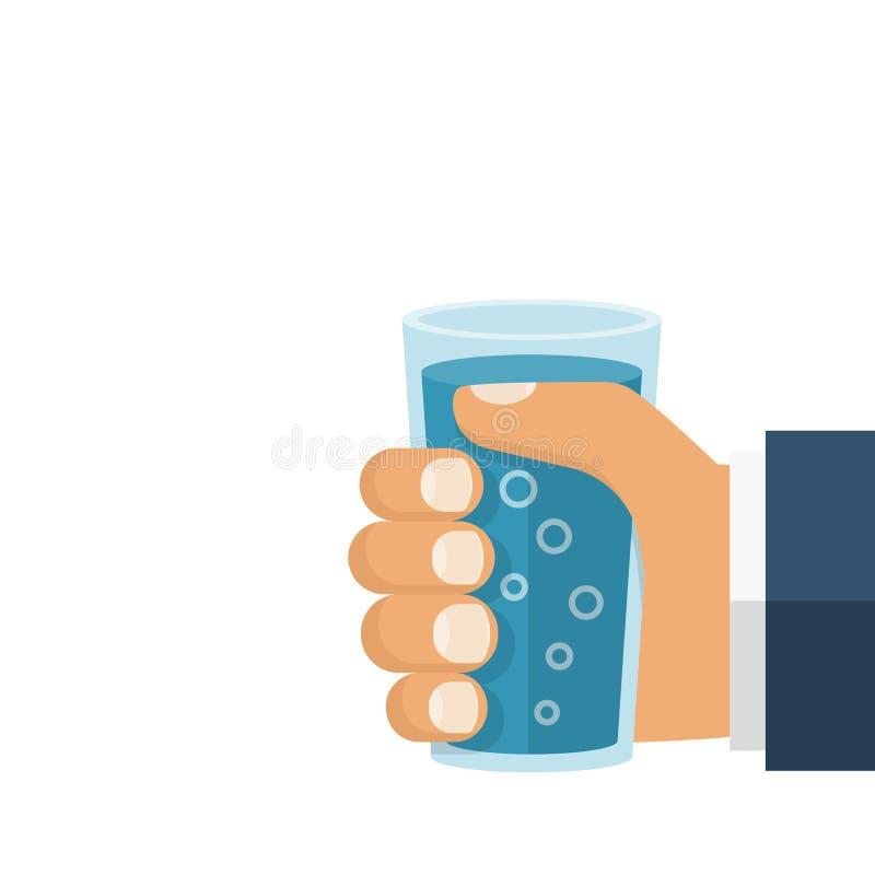 Ręka trzyma szkło wodę ilustracji