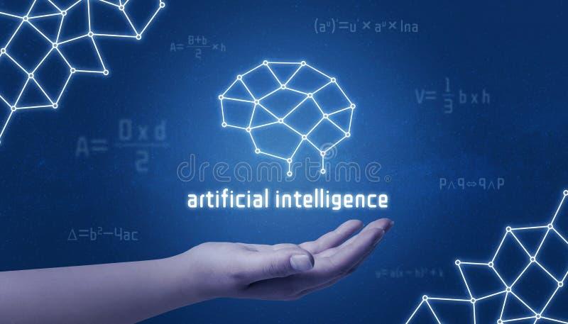 Ręka trzyma sztucznej inteligencji sieci mózg pojęcie royalty ilustracja