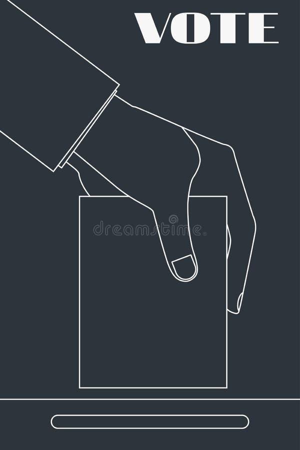 Ręka trzyma tajne głosowanie w wybory Kreskowy rysunek wybory wektor ilustracja wektor