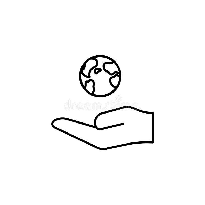 Ręka trzyma up ziemską kontur ikonę Element prosta ikona dla stron internetowych, sieć projekt, wisząca ozdoba app, ewidencyjne g royalty ilustracja