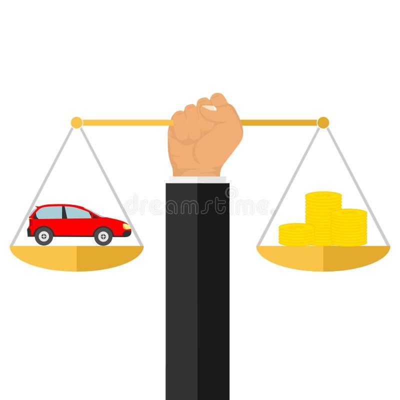 Ręka trzyma waży z pieniądze i samochodem Pieniądze na i samochód ważymy royalty ilustracja