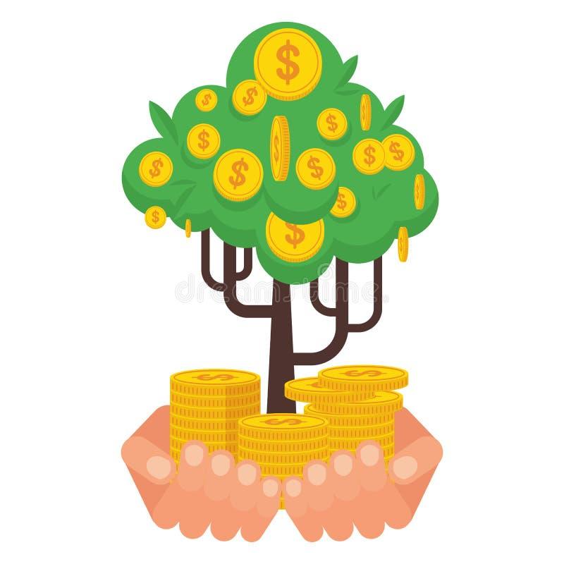 Ręka trzyma zielonego pieniądze drzewny ilustracja wektor