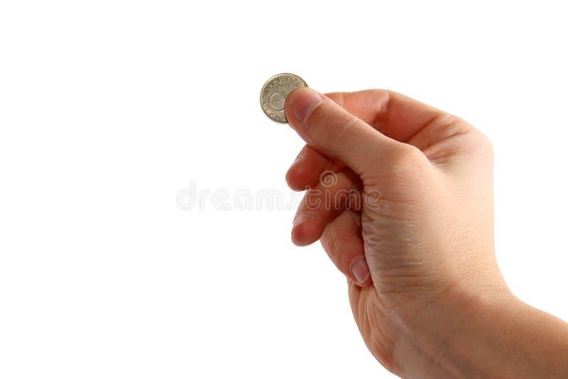 ręka trzymająca monet zdjęcie royalty free