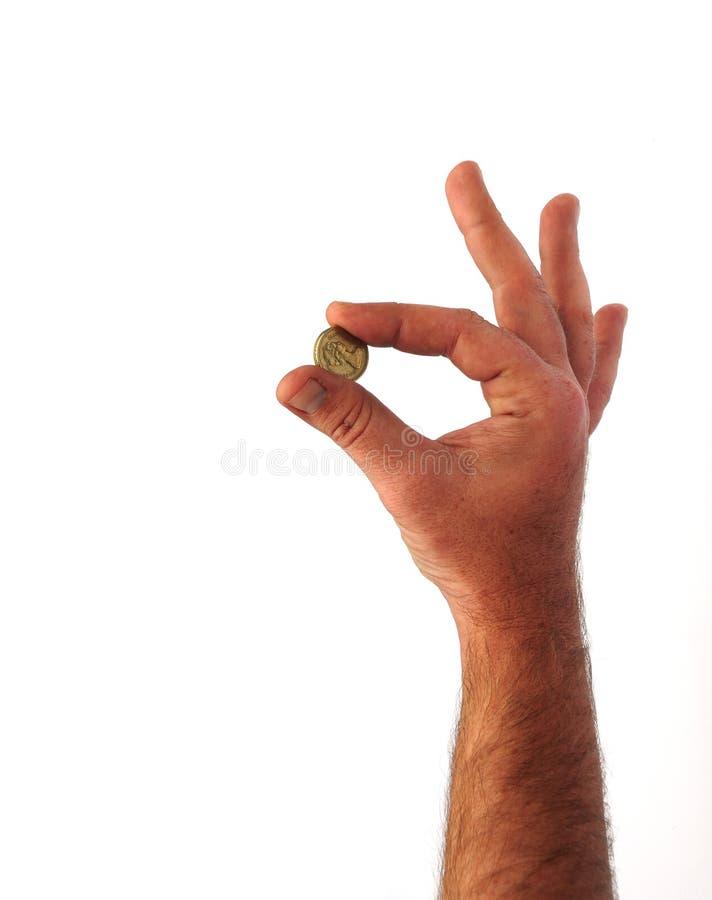 ręka trzymająca monet obraz stock
