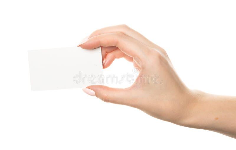 ręka trzymająca pustej karty obraz stock