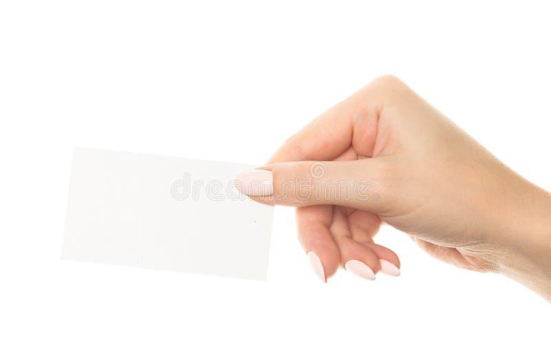 ręka trzymająca pustej karty fotografia royalty free