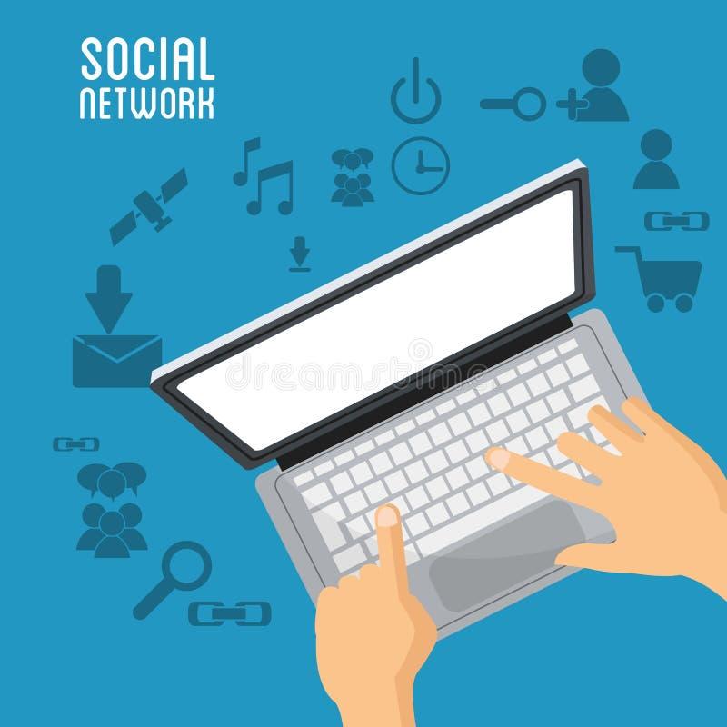 Ręka użytkownika laptopu sieci ogólnospołeczne rzeczy ilustracja wektor