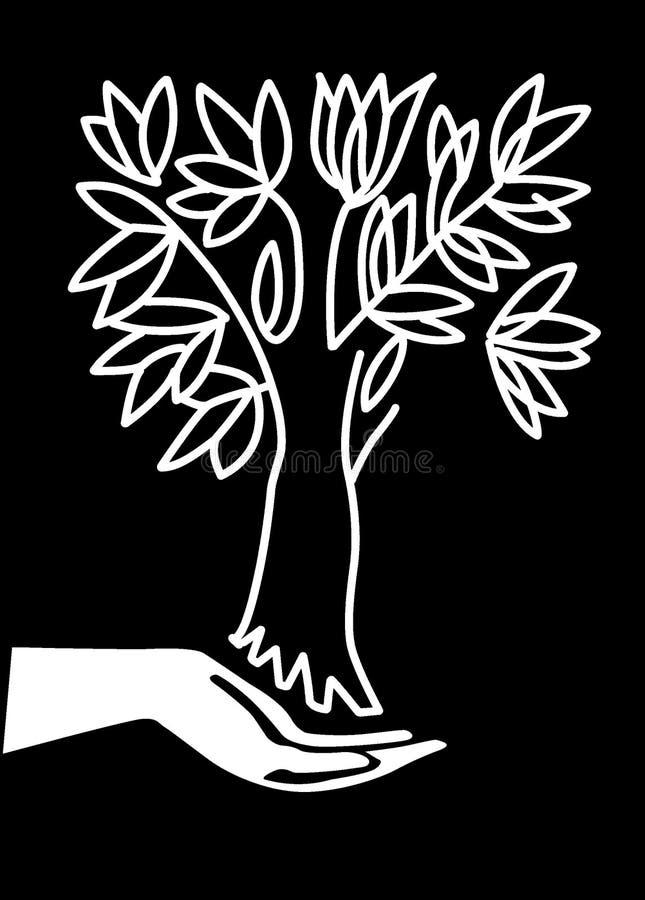 ręka utrzymuje drzewa ilustracja wektor