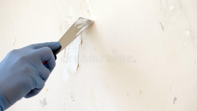 Ręka w błękitnej rękawiczce z kitu noża naprawy ścianą proces stosować warstwę kit, remontowa apretury praca z szpachelką zdjęcie stock