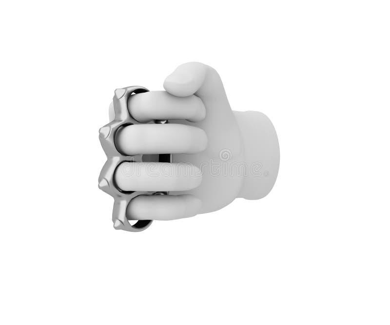 Ręka w białej rękawiczce trzymający knykieć 3 d czynią biały backg ilustracji