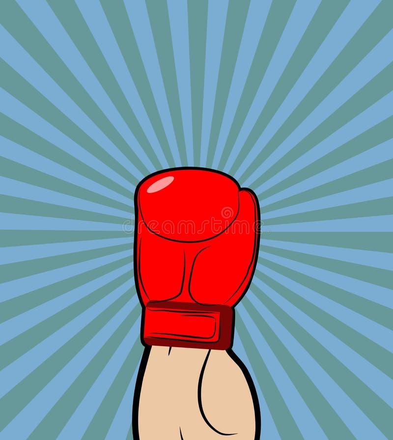 Ręka w bokserskiej rękawiczce Zwycięzca, boksuje mistrza podnosił jego rękę up royalty ilustracja