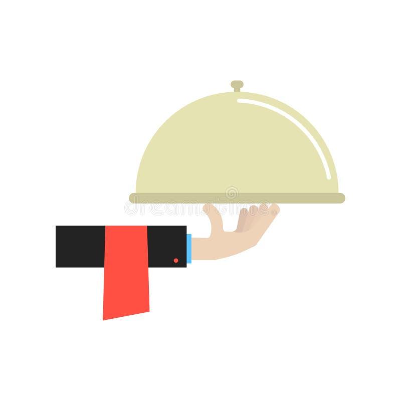 Ręka w czarnym kostiumu mienia naczyniu ilustracji