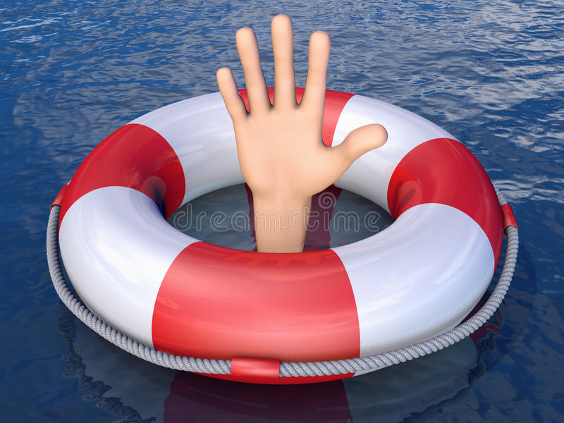 Ręka w lifebuoy ilustracji