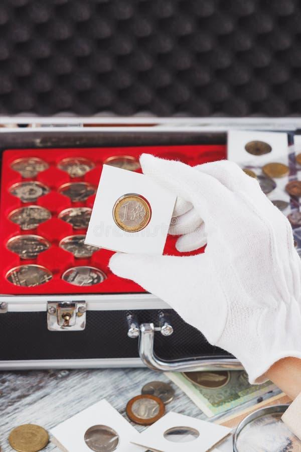 Ręka w rękawiczce trzyma złocistą poborca monetę zdjęcia royalty free