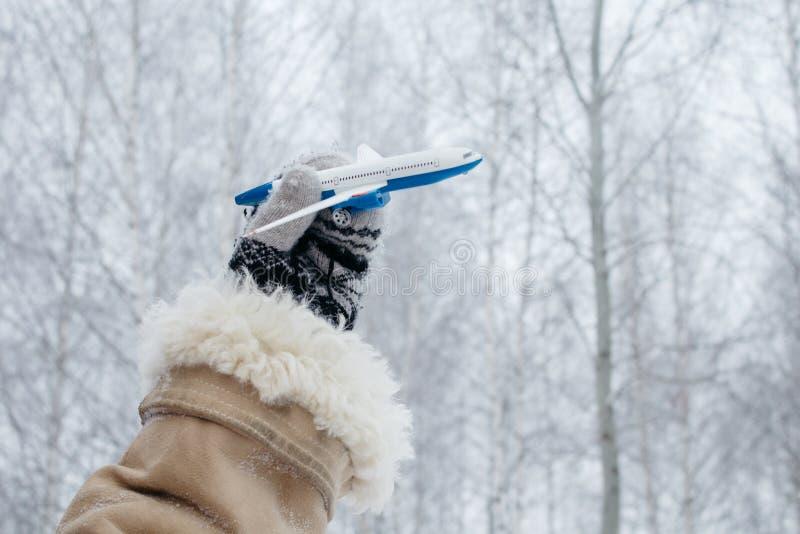 ręka w trykotowej mitynce trzyma małego samolot na natury tle z lasem i zimy niebem samochodowej miasta pojęcia Dublin mapy mała  fotografia stock