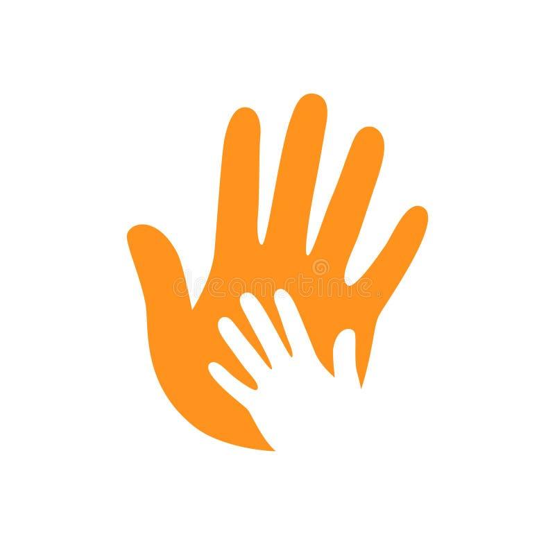 ręka wektor Ręki opieka Dziecięca ręka Poparcie symbol Pomocniczo ludzie ilustracja wektor